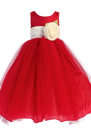Red Tulle & Poly Silk Blossom Flower Girls Dress w Ivory Sash (BL228)