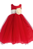 Red Polysilk Flower Girl Dress w. Ballerina Tulle Skirt & Custom Sash  BL228