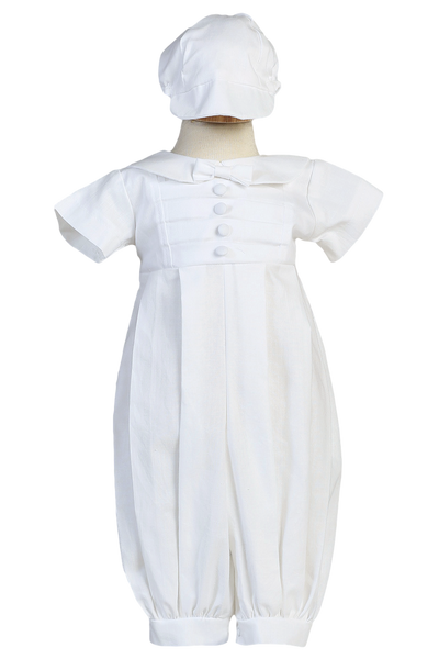 Cotton Blend Boys Christening Coverall w. Pin Tucking & Cap  Gabriel