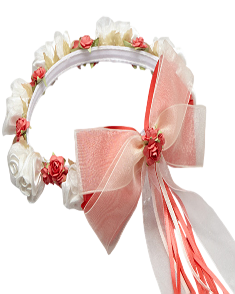 Coral floral crown wreath handmade with silk flowers back satin bows girls coral white hb007 izmirmasajfo