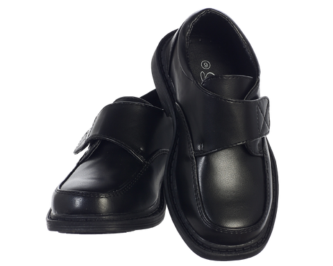 Black Matte Oxford Dress Shoes with Velcro Strap Boys (Frank)