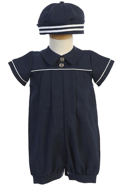 Infant Boys Navy Blue Linen Blend Romper with Cap G838