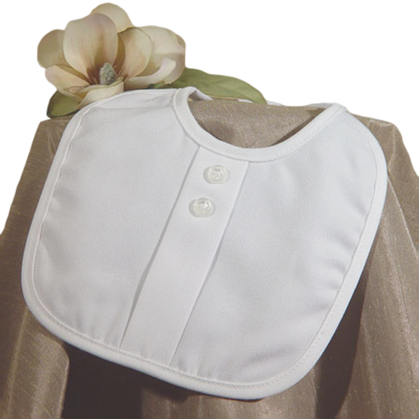 Baby Boys White Poly Rayon Gabardine Bib with Button Accents 5GBBXB