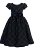 Green & Blue Plaid Christmas Holiday Dress with Black Velvet Trim 4-12  (C813)