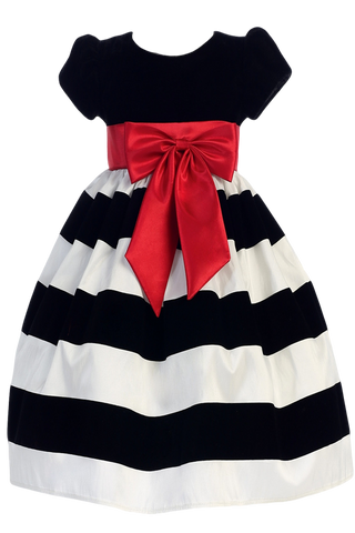 White & Black Velvet Girls Flocked Taffeta Christmas Dress w. Red Bow 3M-10 (C925)