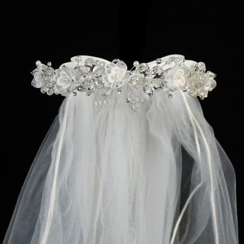 Crystal & Organza Floral Wreath w Veil Holy Communion (T-409)