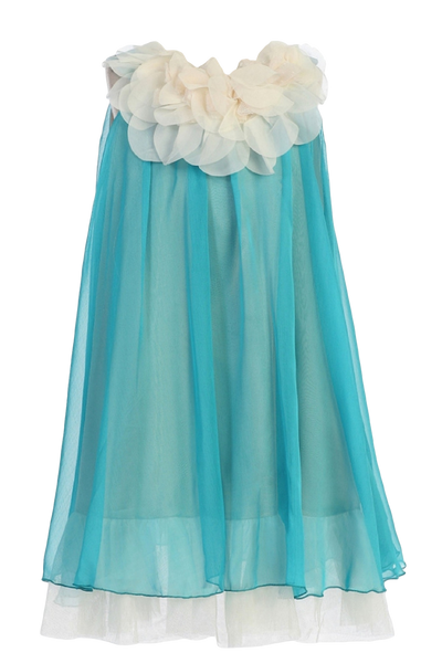 Turquoise & Ivory Chiffon Girls Shift Dress w Petal Trim (284)