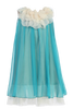 Girls Turquoise Blue Chiffon Shift Dress w. Ivory Petal Trim KD284