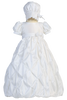 Taffeta Christening Gown w Bubble Tucked Pick up Skirt (Beverly)