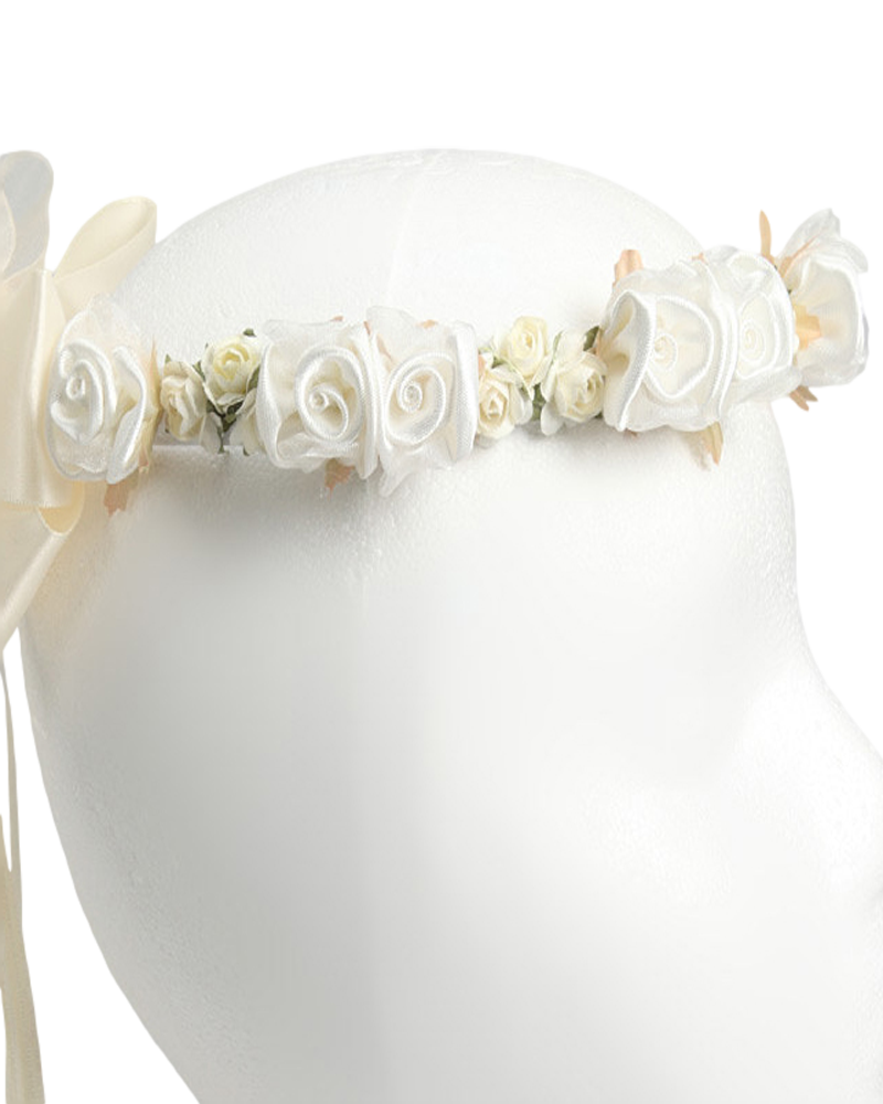 White or ivory floral crown wreath handmade with silk flowers back satin bows girls ivory wreath hb007 izmirmasajfo