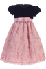 Dusty Rose Corded Tulle Girls Holiday Dress with Black Velvet Bodice 3M-10 (C997)