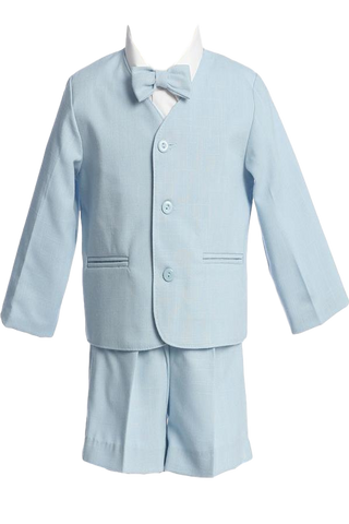 Light Blue Eton Jacket & Shorts 4 Pc Spring Outfit Baby & Toddler Boys (G730)