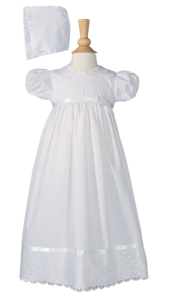 Lace & Satin on Poly Cotton Handmade Christening Dress (PC68GS)