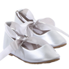 Silver Ballet Flats Girls Dress Shoes with Ribbon Tie (BS004)