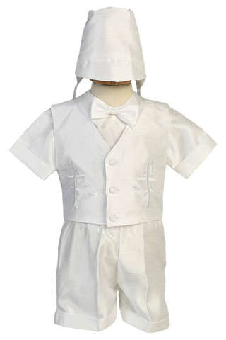 Cross Embroidery Shantung Vest & Shorts Baptism Outfit (8470)