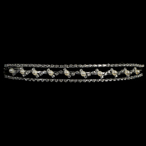 Rhinestone & Pearl Tiara on a Silver Band First Holy Communion (T68)