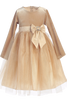 Gold Long Sleeve Velvet & Glitter Tulle Girls Holiday Dress  C994