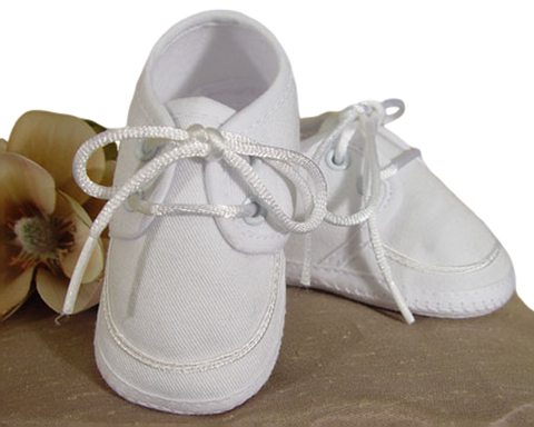 Gabardine Oxford Bootie Dress Shoes in White Infant Boys (5GBBAS)