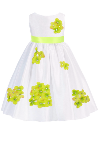 Lime Green Dimensional Flowers on White Shantung Baby Girls Dress (219-F)