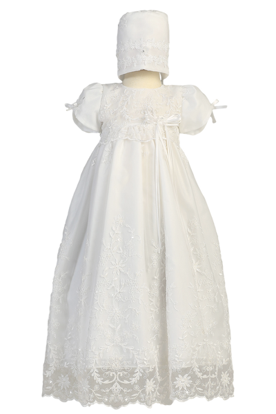 Floral Embroidery & Beadwork on Tulle Christening Gown (Sofia)