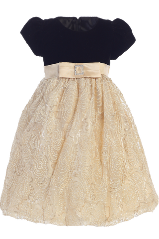 Gold Corded Tulle Girls Holiday Dress with Black Velvet Bodice 3M-10 (C997)