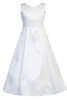 Satin & Lace White A-Line First Holy Communion Dress (SP104)