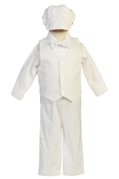 Boys 5-pc Cotton Blend Baptism Pants Set w. Woven Vest & Cap  Nathan