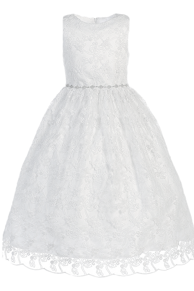 Girls Embroidered Tulle & Rhinestone Trim Communion Dress SP993