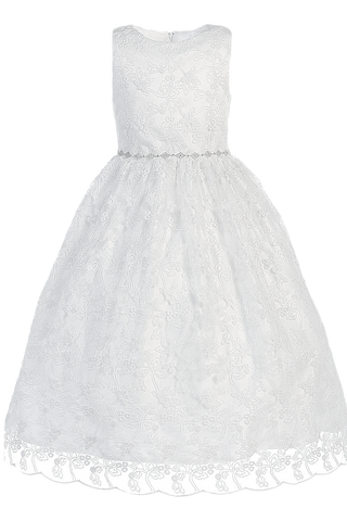 Vine Embroidered White Tulle First Holy Communion Dress w Satin Sash (SP993)