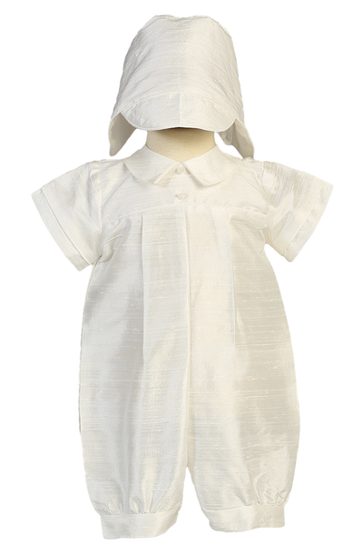 Boys 100% Silk Baptism Romper w. Box Pleats & Collar  Conner