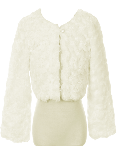 Ivory Fur Cropped Length Girls Occasion Jacket (330)