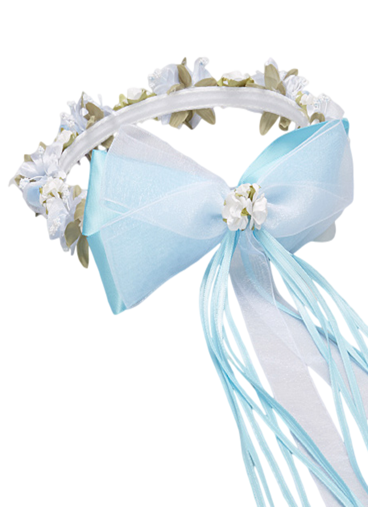 Light Blue Silk Amp Satin Floral Crown Wreath Girls Rachel
