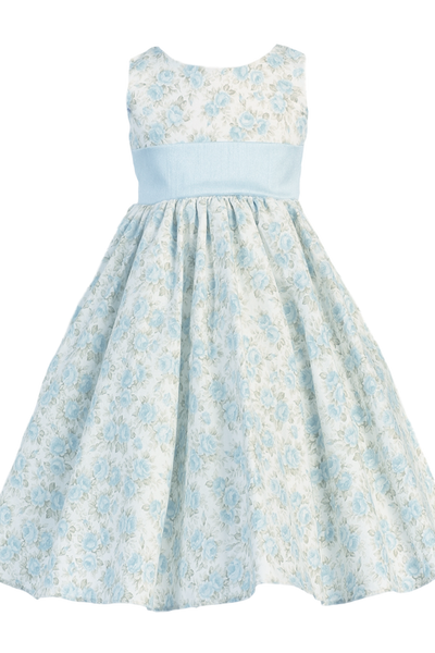 Blue Floral Print Cotton Easter Spring Dress w Shantung Trim Girls (M693)