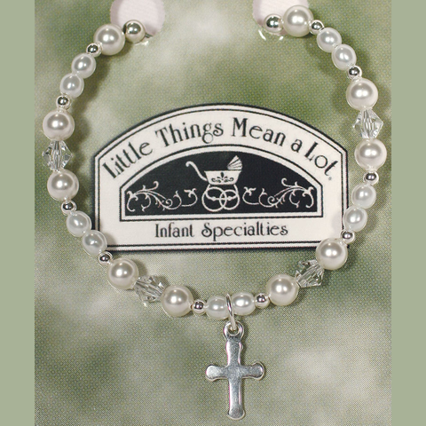 Pearl & Sterling Silver Beaded Bracelet w Cross Girls (BRACE4)
