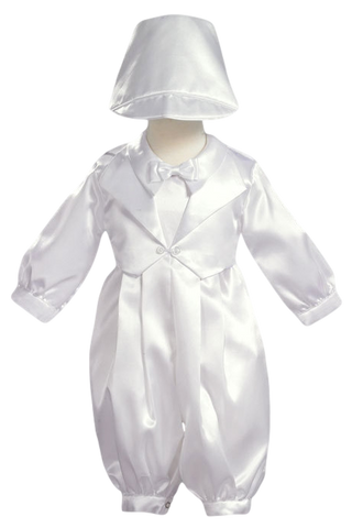 Satin Christening Coverall w Mock Vest & Hat Boys Outfit (8110)