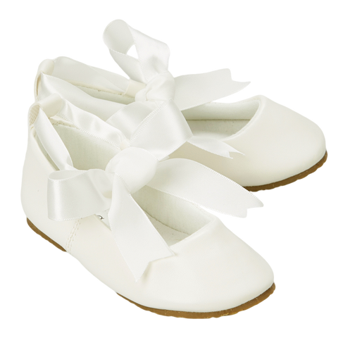 Ivory Ballet Flats Girls Dress Shoes with Ribbon Tie (BS004)