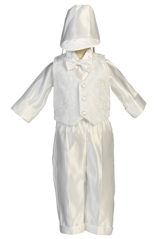 Embroidered Vest & Pants Satin Christening Outfit (Baby Boys Newborn - 24 months)