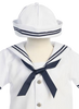 White Classic Nautical Romper Spring Outfit w Sailor Hat Baby Boys (G250)