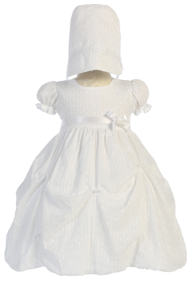Jacquard Bubble Christening Dress with Pick up Skirt (Olivia)