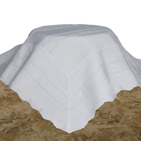 Knit White Acrylic High Quality Shawl Blanket Infants (ASHAWL3)