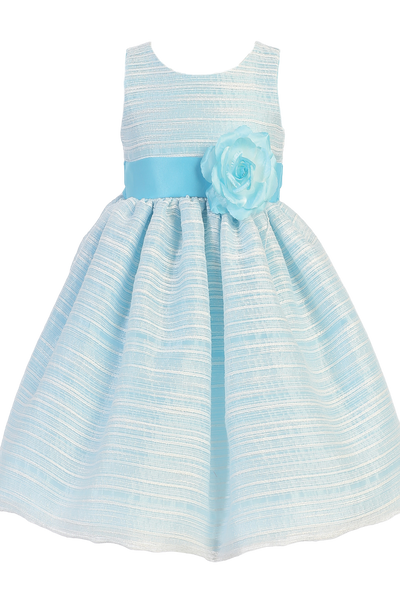 Light Blue Striped Organza Girls Easter Spring Dress w Satin Sash (M724)