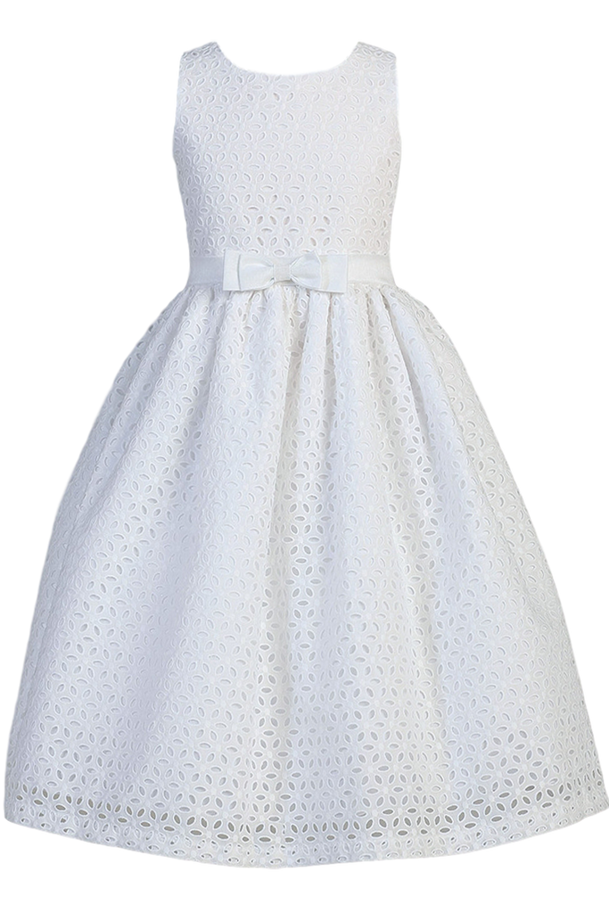 0df396d0982e Fabulous White Cotton Eyelet Girls Communion Dress w. Embroidered Flowers 6  PN09