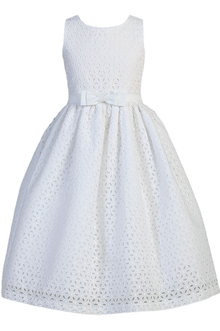 Floral Eyelet White Cotton First Holy Communion Dress with Satin Trim (SP120)