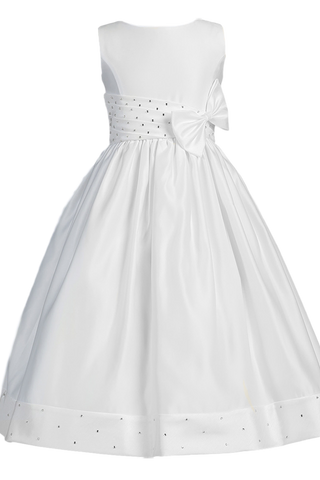 Girls Satin Communion Dress w. Jeweled Diagonal Pleating & Bow  SP961
