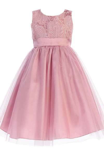 Dusty Rose Tulle Overlay Girls Holiday Dress with Sleeveless Corded Bodice 3M-10 (C505)