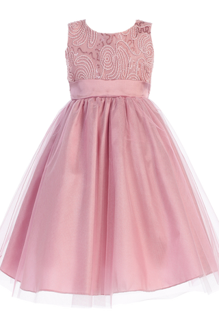 Dusty Rose Tulle & Cord Embroidered Girls Christmas Holiday Dress (C505)