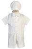 Shantung Vest & Shorts 5 Pc White Christening Outfit (Richard)