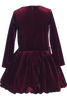BACK OF Burgundy Velvet Drop Waist Girls Christmas Holiday Dress w Tucked Hem (C995)