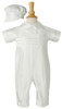 100% Silk Dupioni Handmade Christening Coverall Outfit & Captains Hat (DP19CS)