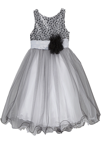 79fd34a5 Girls Silver & Black Sequined Party Dress w. Tulle Skirt 3m-24m ...